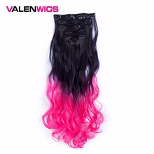 """Valen Wigs Ombre Color 55cm 7pcs/set 22"""" Heat Resistant Synthetic Clip Ins Hairpieces Wavy Synthetic Wig Clip On Hair Extensions"""