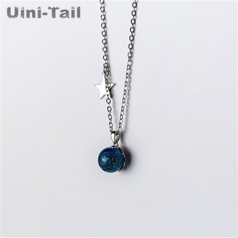 Uini Tail hot new 925 sterling silver star blue artificial crystal pendant necklace Korean fashion trend sweet jewelry GN843 in Pendant Necklaces from Jewelry Accessories