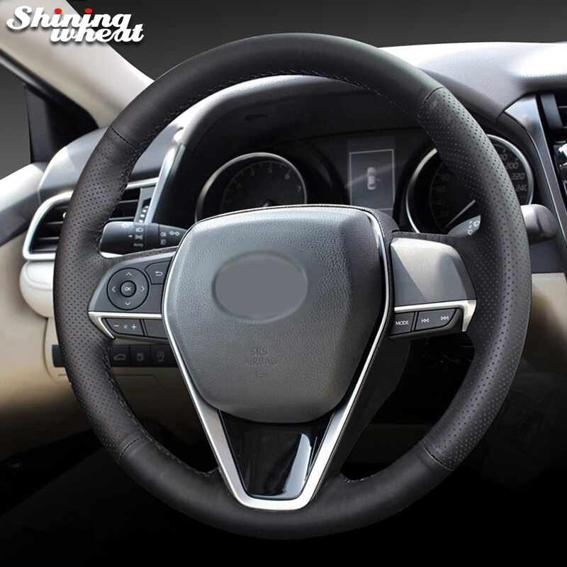 Shining wheat Black Genuine Leather Steering Wheel Cover for Toyota Camry 2018