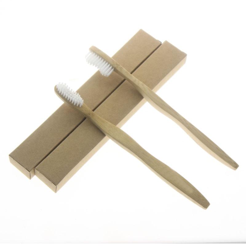 FDA certifikace 2ks / set 19cm plochá vlna rukojeť Bílá štětina přírodní bambus Nejlepší zubní kartáček na zubní kartáčky