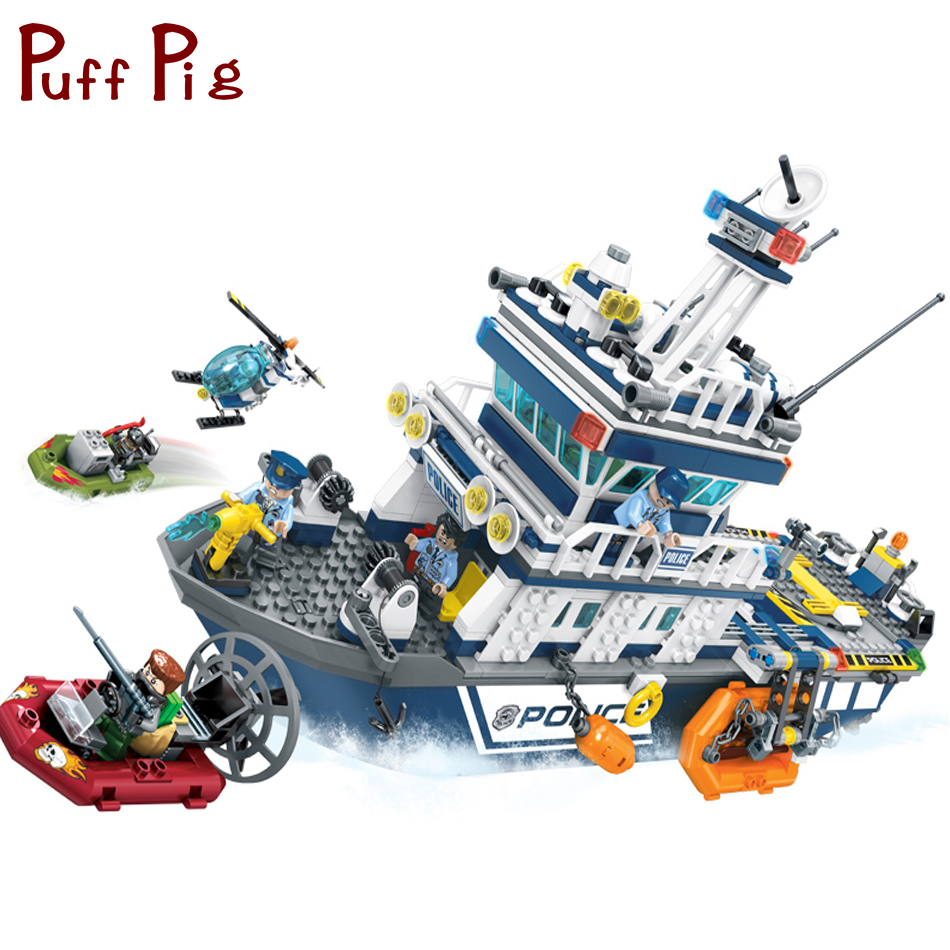 869PCS Coast Guard Head Quarters Police Boat Helicopter Compatible Legoed City Figures Classic Kids DIY Building Blocks Toys city super police cruiser plane coast guard airplane 3in1 building block thief policeman swat figures compatible withlego toys