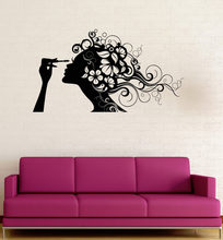 Hot Sale Sticker For Girls Room Beauty Salon Cosmetics Makeup Hair Wall Stickers Vinyl DIY Self-Adhesive Decals Wallpapers LA632(China)