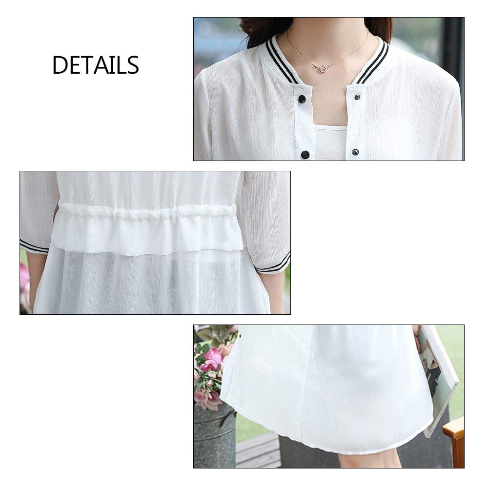 8ffaf6e95e4 Plus Size Summer Autumn Kimono Long Sleeve Breathable Chiffon Blouse Women  Baseball Jackets Lace up Shirts Top Cardigan-in Blouses   Shirts from  Women s ...