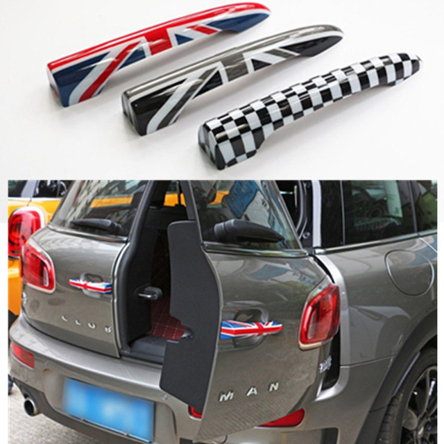 2pcs Lot Trunk Door Handle Cover For Mini Cooper Clubman F54 2016 Union Jack Checkered