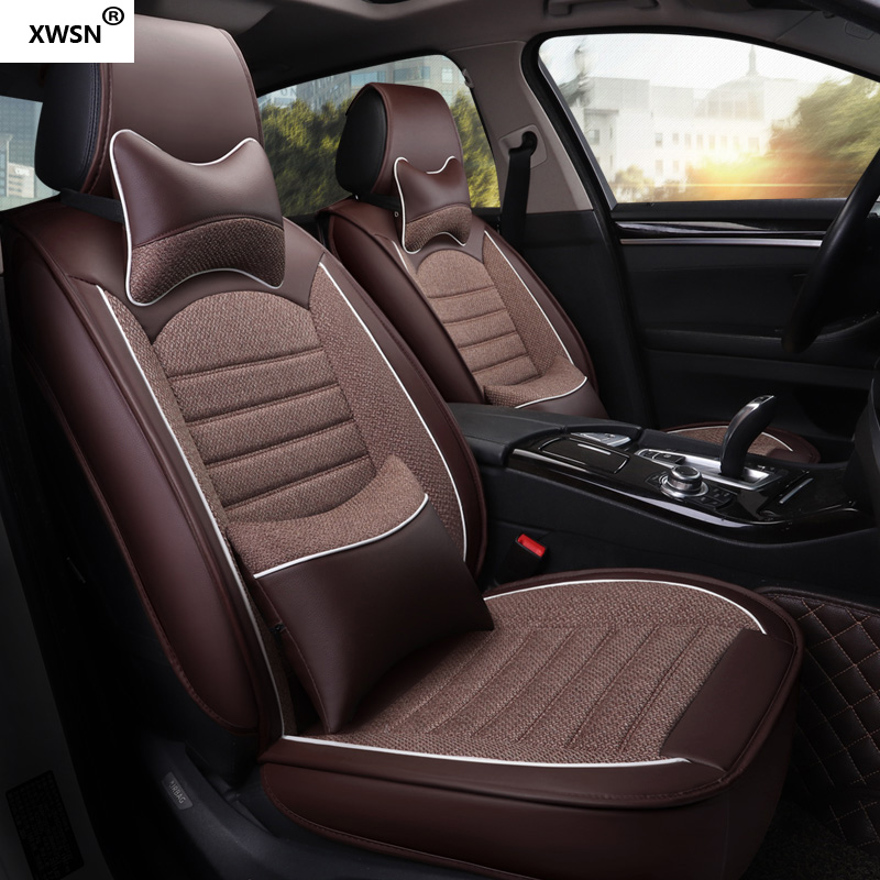XWSN Pu Leather Linen Car Seat Covers For Chrysler Voyager