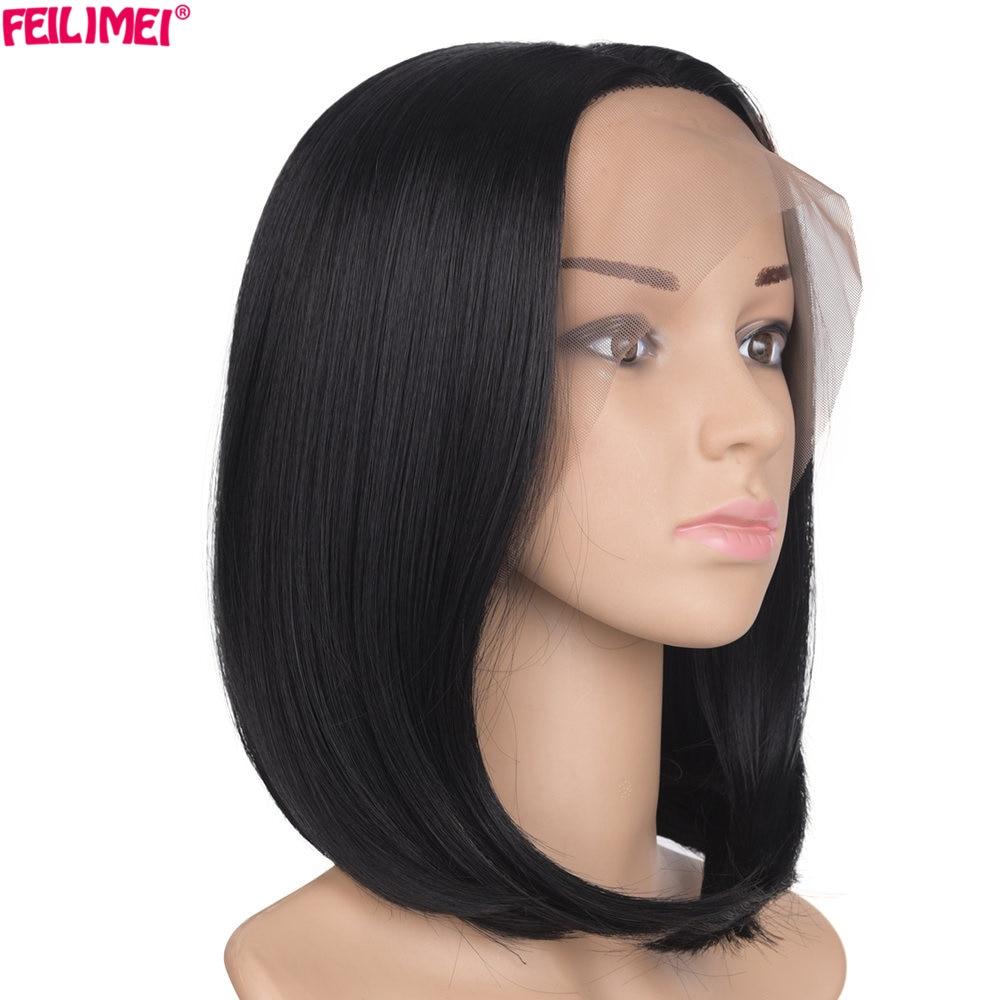Feilimei synthétique dentelle avant perruque Bob perruques 10 pouces 150g résistant à la chaleur femmes noir court cheveux raides pour les femmes