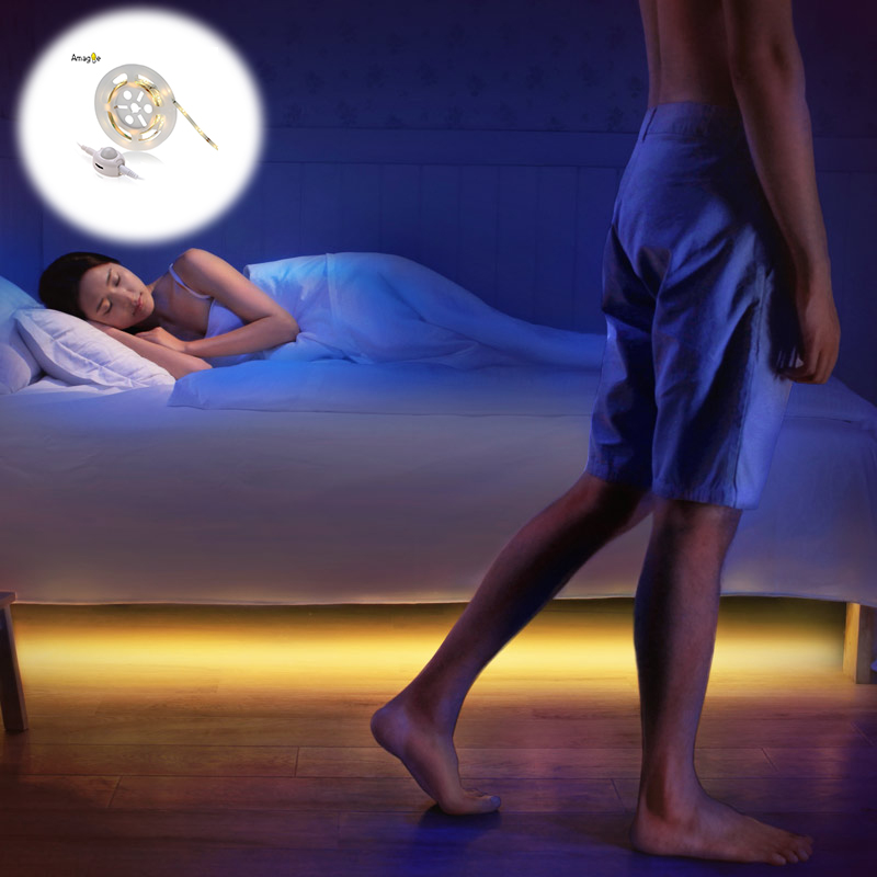Motion Activated Bed Light LED Night Light With Motion Sensor Automatic Shut Off Timer Children Kids Nightlights Wardrobe Light