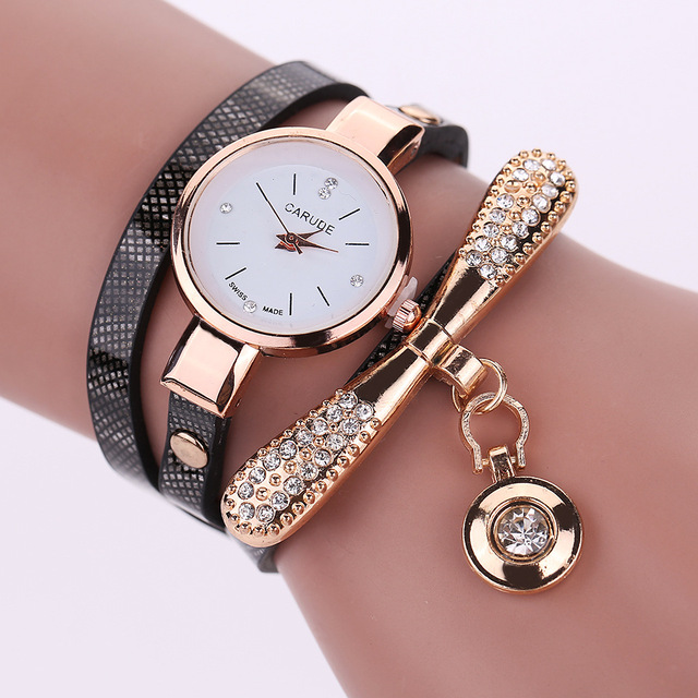 Women Watches Fashion Casual Bracelet Watch Women Relogio Leather Rhinestone Analog Quartz Watch Clock Ladies Watch