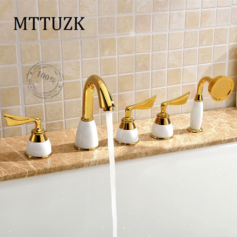 MTTUZK Antique brass golden 5piece Bathtub fauce bathroom faucet  for hot and cold mixer Sink faucet 3 handle 5 hole 5pcs/set