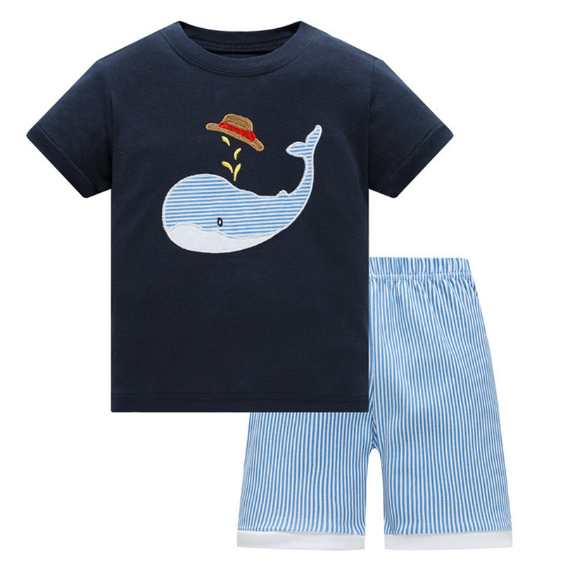 цена на Summer Baby kids Pajamas Set 100% Cotton Children Short Sleeve sleepwear Cartoon Shark pattern Boys pyjamas girls home suit