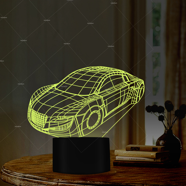 Car Addiction 3D Design Illusion LED Night Light 7 Changing Colors Gift Idea For Guys Or Club Decor Kids Birthday