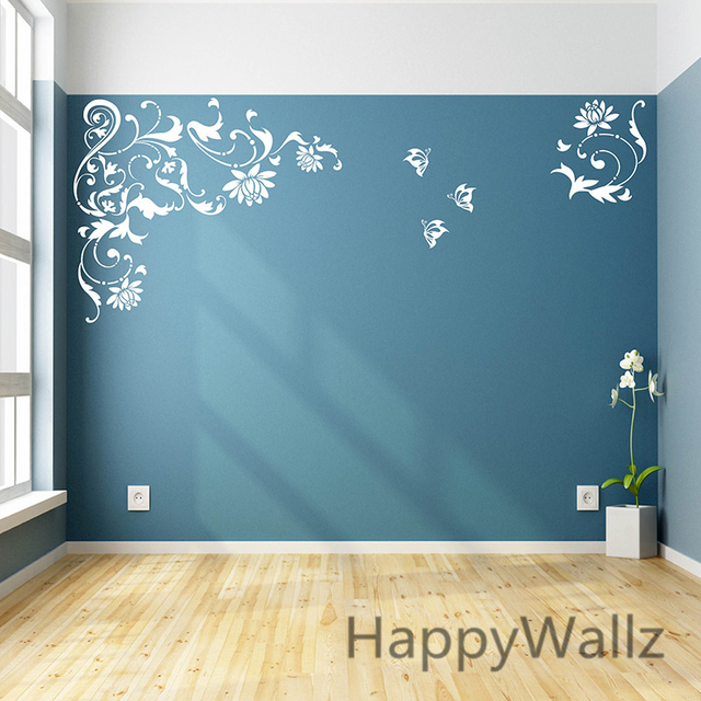 Flower Wines Wall Stickers Flower Wall Decals DIY Beautiful Floral Wines  Wall Decor Flowers Wallpapers F39