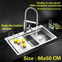 Free Shipping Luxury Big Kitchen Manual Sink Double Groove Push The Button Drainer Standard Stainless Steel