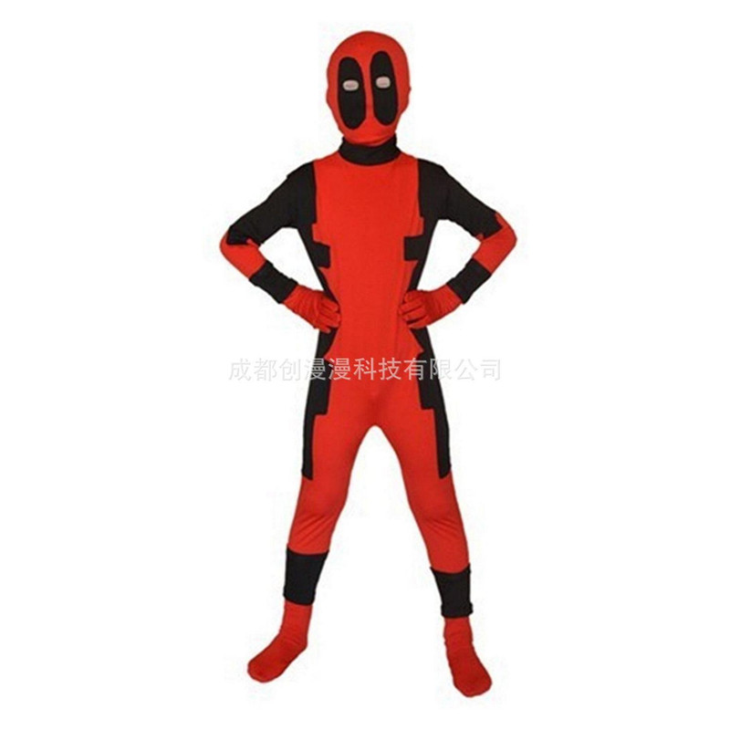 2018 Cool Kids new  Deadpool 2 Costume Red full body spandex Boy Deadpool Cosplay Costumes girl halloween deadpool party costume