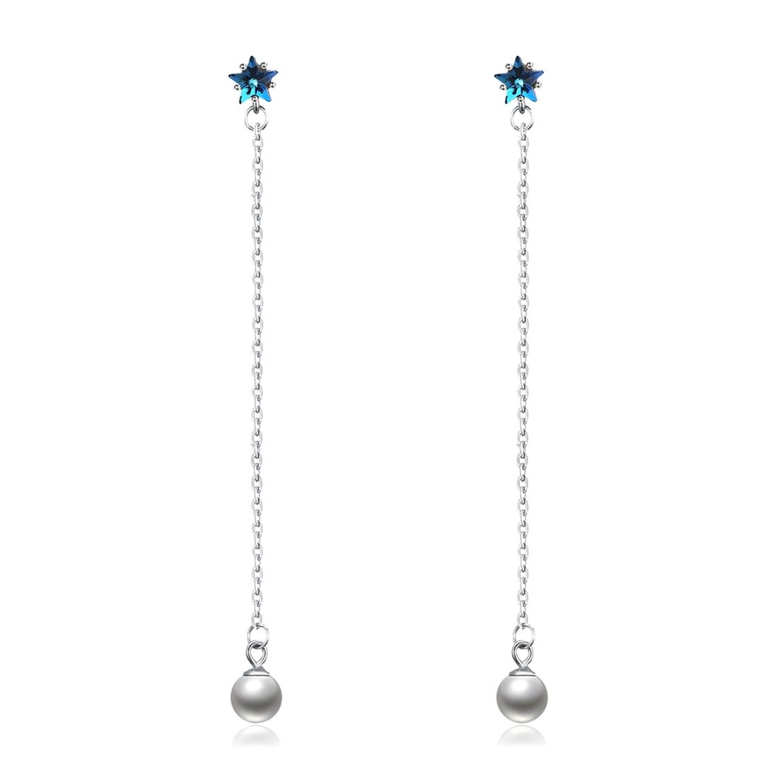 LEKANI Crystals from Swarovski Element 925 Sterling Silver Drop Earrings Blue Jewelry Beads Long Chain Pearl Pendant Earrings