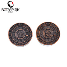 BODY PUNK Burnished Rose Gold Zodiac With Steel Plugs And Flesh Tunnel Earrings For Women Fashion Piercing Body Jewelry 14 Size