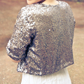 Luxury Shiny Grey Half Sleeve Sequined Bridal Jackets 2017 Shrug Formal Women Wedding Coats Boleros Wedding Accessories B182