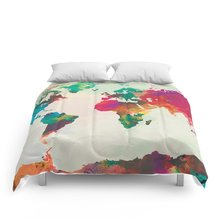 Buy world map bedding sets and get free shipping on aliexpress watercolor world map comforters bedlinens high quality fabric queenking size duvet cover set bedding set gumiabroncs Images