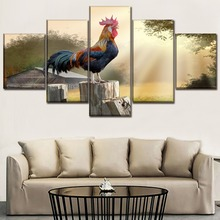 Canvas Paintings Wall Art Home Decor Framework 5 Piece Barn Bird Countryside Animals Rooster For Living Room HD Printed Picture