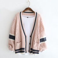 runback Stripe Chunky Knit Cardigan Oversize Sweater Female V neck Long Lantern Sleeve Pocket Cable Winter Sweaters Women Jumper