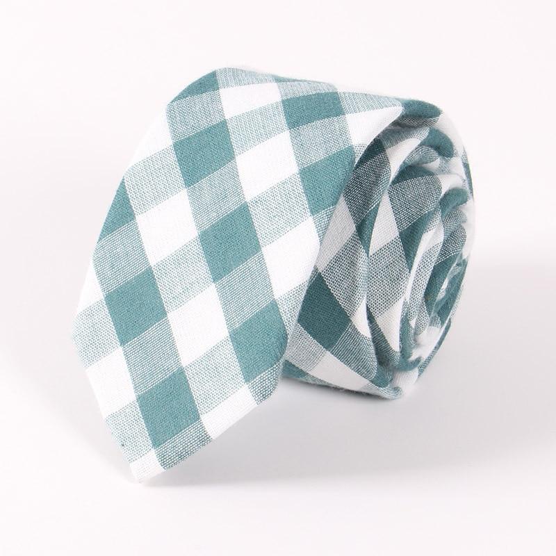 Cotton fashion leisure 6.5cm narrow tie Wild men striped plaid tie Wedding Business Necktie
