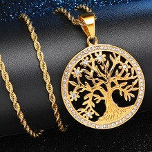 Iced Out Bling Stainless Steel Tree of Life Wisdom Pendants Necklaces for Men HIP Hop Jewelry Dropshipping Gold Color