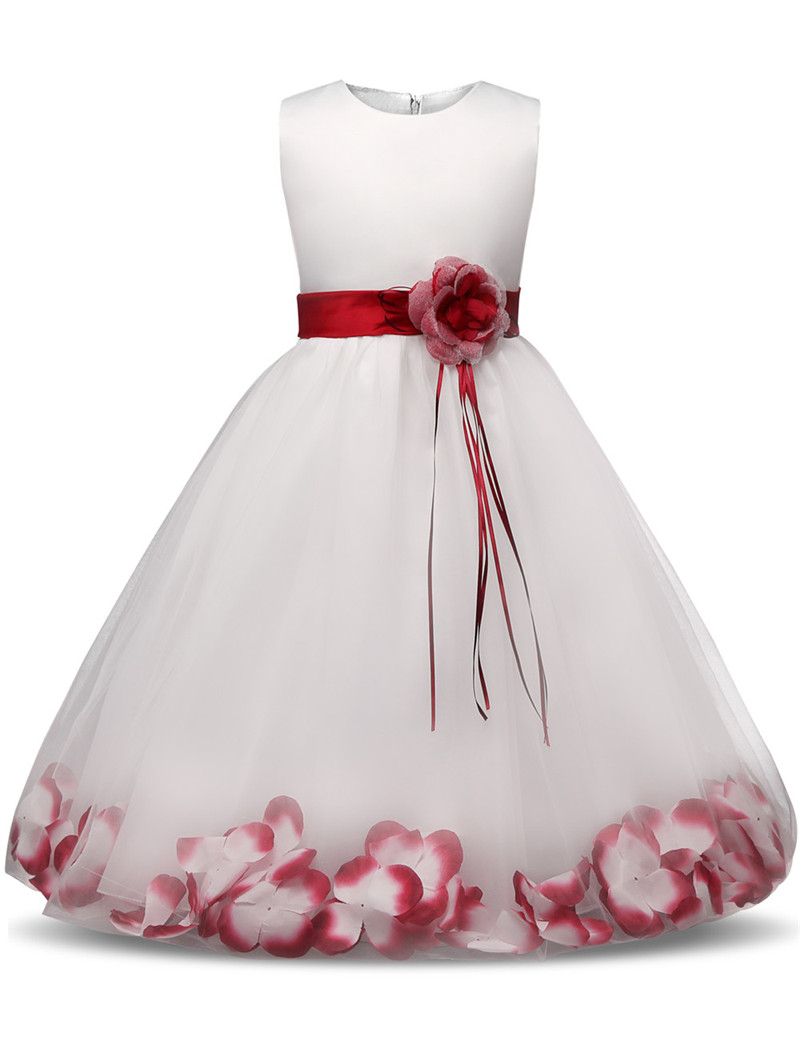 038fcfee183 Flower Girl Dress with Flowers Ribbons for Girls Tulle Dresses Birthday  Party Wedding Ceremonious Kid Girl Clothes Gown for Kids