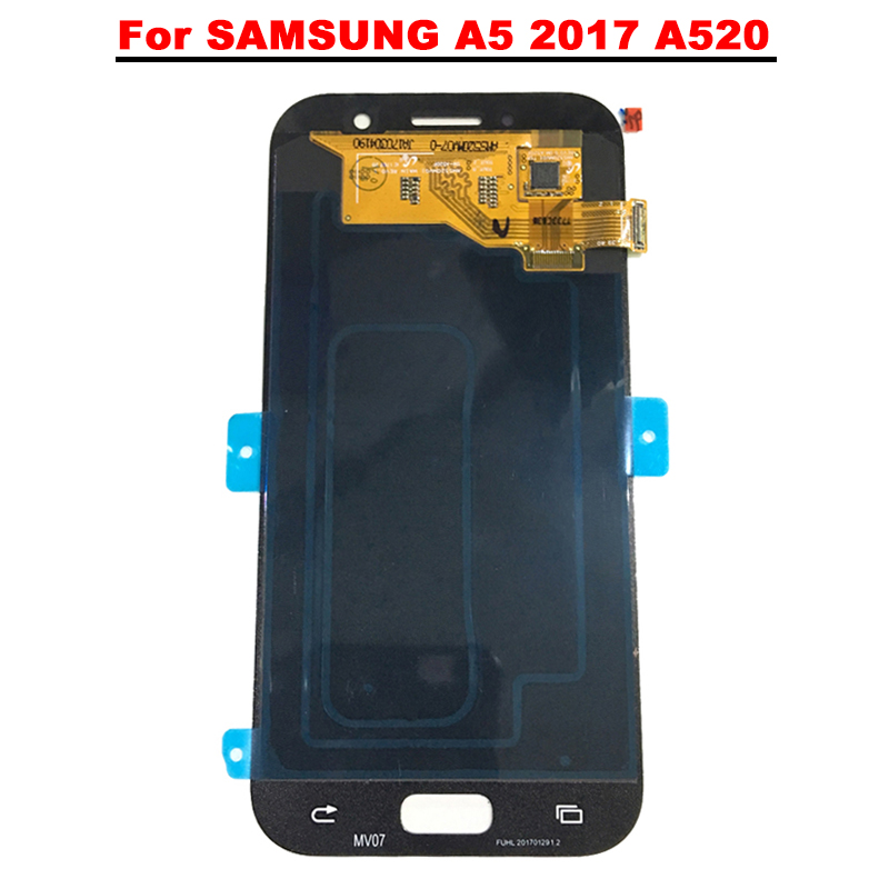 New Super AMOLED LCD A5 2017 A520 A520F SM A520F Display 100% Tested Working Touch Screen Assembly For Samsung Galaxy a520 lcd