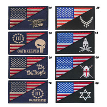 3D Embroidery Patch Seals Tactical US American Flag Military Morale Emblem Appliques Embroidered Badges For Caps