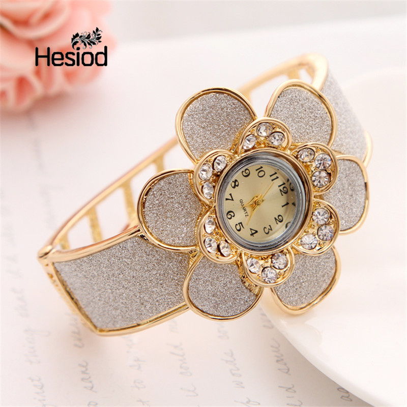 Hesiod Beautiful Crystal Sun Flower Gold Color Bangle Bracelet Watch