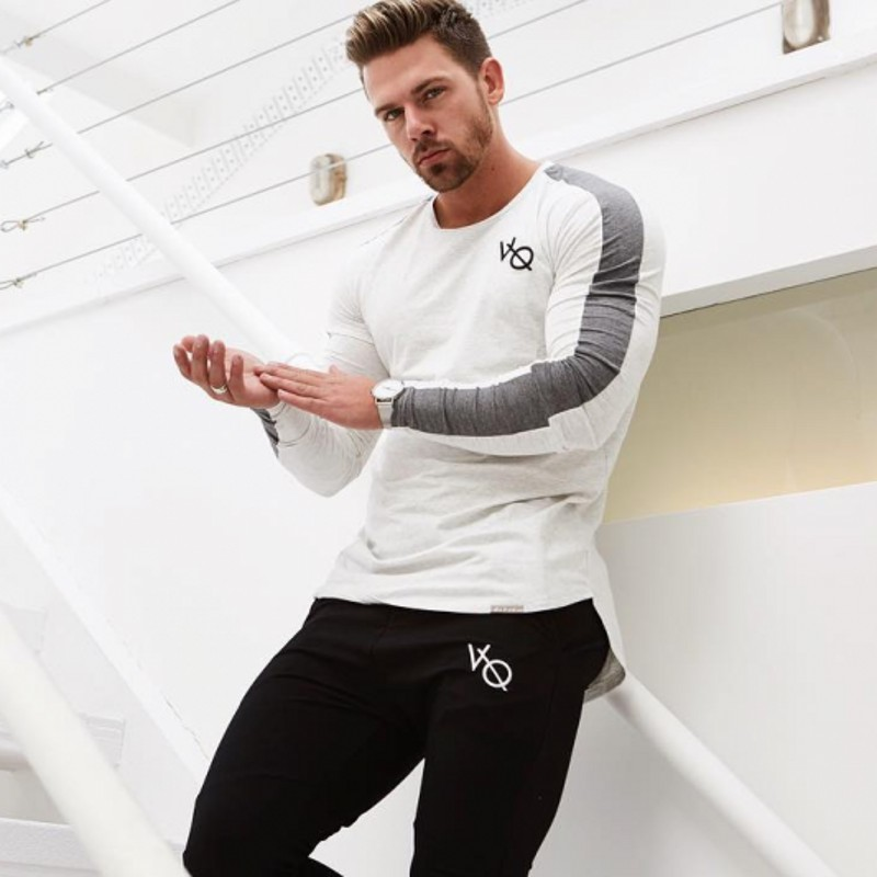 Brand Men fashion   t     shirt   2018NEW Spring summer Slim   shirts   male Tops Leisure Bodybuilding Long Sleeve personality tees clothing