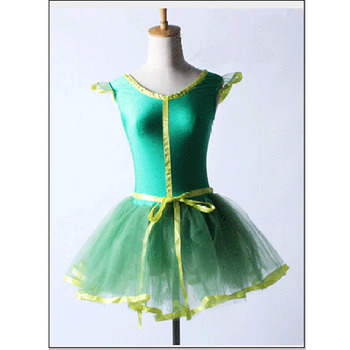Children Soft Green Short Ballet Dresses,Stage Dancewear Practice Ballet Dress HB1229