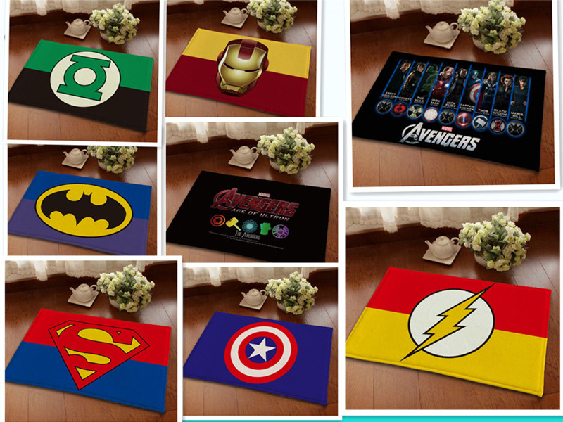 High Quality Captain America Avengers Anti-skid Carpet Mats Flannel Kids Room Home Decor Floor Mat Water Absorption Mat