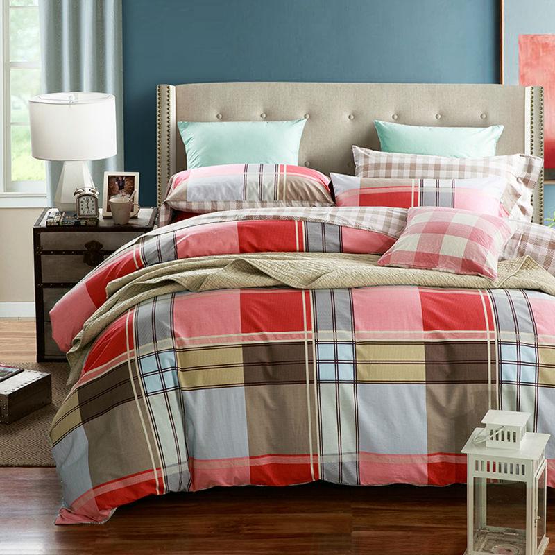 2017 new 100 cotton classic button bedding set stripe plaid duvet cover bed sheet reactive. Black Bedroom Furniture Sets. Home Design Ideas