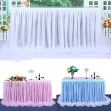 183x78cm Tulle Tutu Table Skirt for Wedding Party Xmas Baby shower Decor DIY 6ft Tulle Table Skirt Tableware Cover Wedding Decor(China)