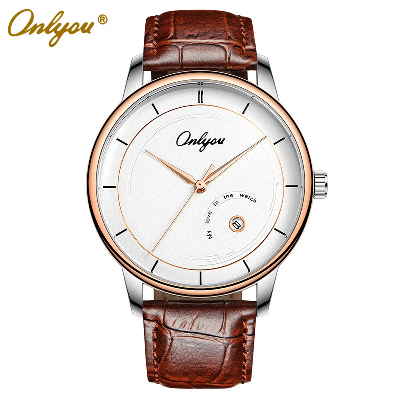 Onlyou Brand Fashion Casual Genuine Leather Watch  Rose Gold Black Women Men Quartz Watchristwatches Male Female Clock 81028 tshing ray fashion women rose gold mirror cat eye sunglasses ladies twin beams brand designer cateye sun glasses for female male