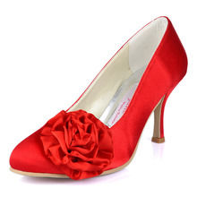 Wholesale & Retail Classic Red High Heel Shoes EL101103 Almond Toe Customized Shoes Thin Heels Satin Formal Evening Party Shoes