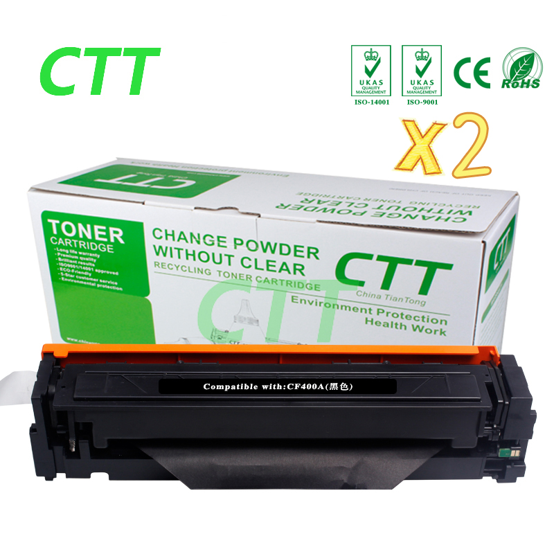 Black Toner CF400A 400a (2-Pack) Toner Cartridge Compatible for HP Color LaserJet Pro M252dw with chip impressora laserjet 2700 3000 rplacement for hp toner cartridge chip q7560a q7561a q7562a q7563a