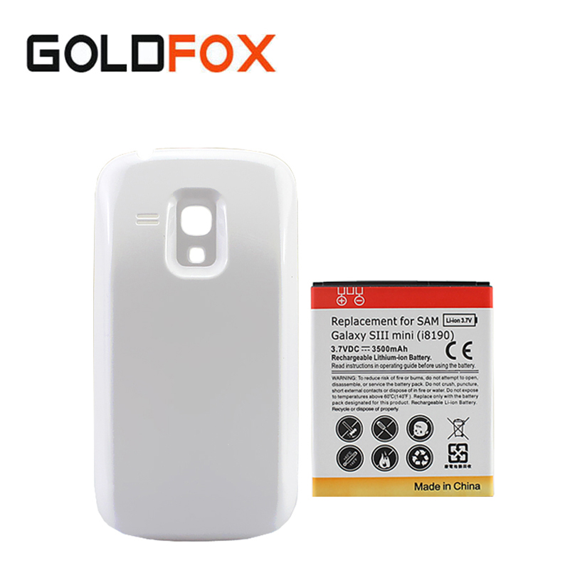 For Samsung Galaxy S3 Mini <font><b>i8190</b></font> Phone Batteria Extended Backup Cell Phone Replacement <font><b>Battery</b></font> 3500mAh + White <font><b>Back</b></font> Cover Case image