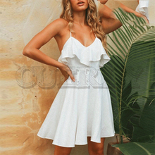 CUERLY Elegant v-neck ruffle women summer dress Spaghetti strap A-line backless cotton Casual female white solid vestidos