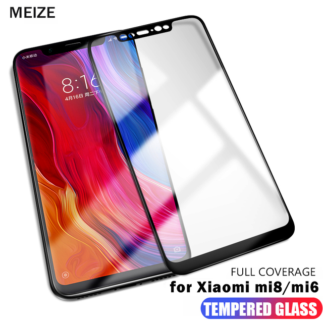 MEIZE 9H Full Cover xiaomi mi 8 Tempered Glass for xiaomi mi mi6 mi8 mi 6 Screen Protector xiaomi mi 8 se glass Protective film