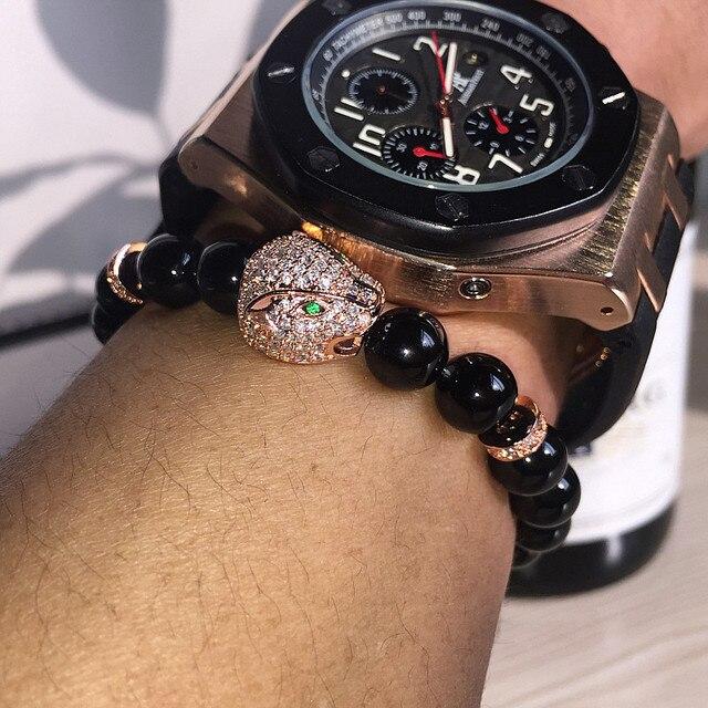 Анил Arjandas Micro Pave CZ Мужчины Йоги Браслеты Золотой Леопард Браслет Оникс Природных Камней Для Женщины Мужчина Ювелирные Изделия