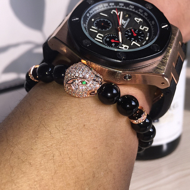 Anil Arjandas Micro Pave CZ Yoga Men Bracelets Gold Leopard Charm Bracelet Onyx Natural Stones For Women Man Fashion Jewelry