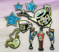 Star Tea Set Beaded Sequin Applique Embroidered Patch Applique Fabric Clothes Applique Decoration Sequined Patch