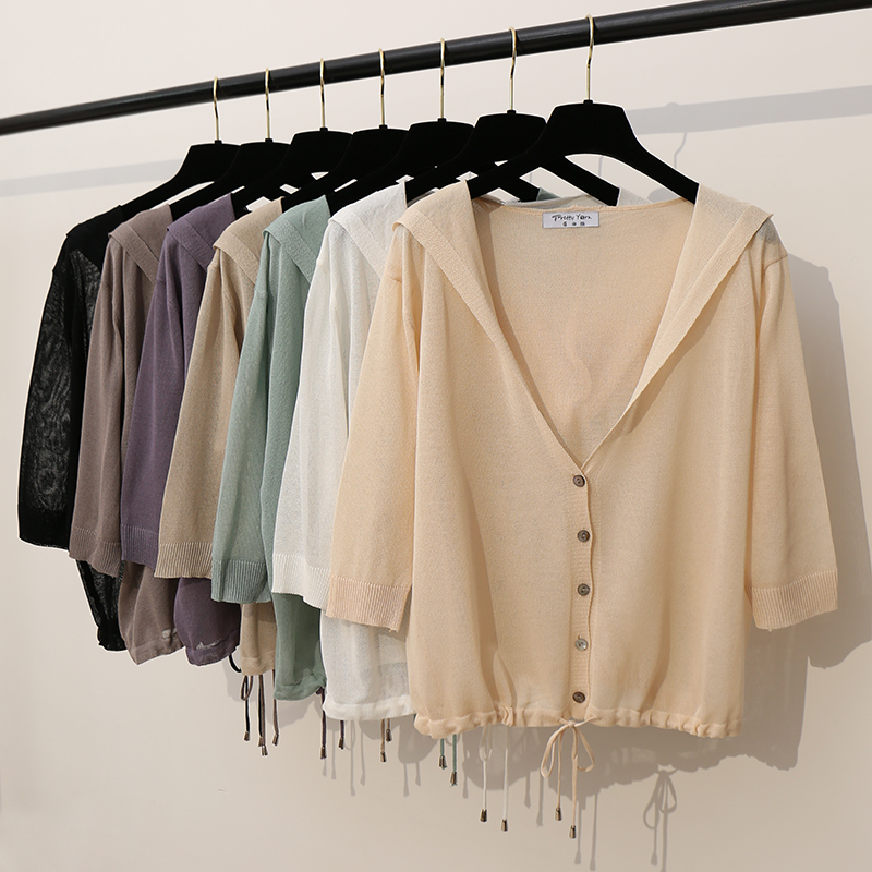 Hooded Thin Sweater Cardigan Women Silk Linen Spring  Summer Lace Up V-Neck Short Design Loose Cape Cardigans Outerwear Female