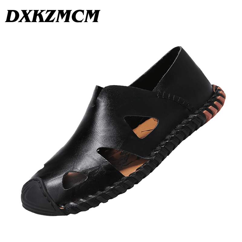 где купить DXKZMCM Genuine Leather Shoes Summer New Large Size Men's Sandals Men Sandals Fashion Sandals And Slippers дешево