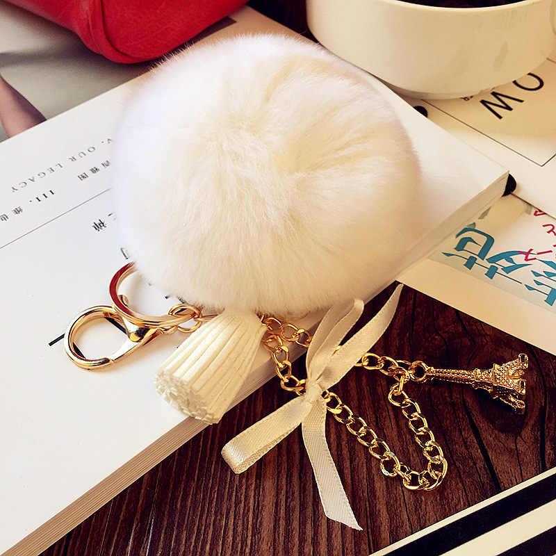 Bonito plush chaveiro bola de cabelo Bola de Pele De Coelho de Pelúcia Pingente telefone Chaveiro Keychain
