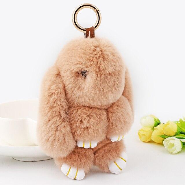 18 см 7.08 inch Большой Супер Симпатичные Натурального Меха Кролика Помпон Прекрасный Скучный Банни Плюшевые Игрушки Ключевые Цепочки, Подвески