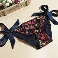 5 шт./лот Шелковицы женские шелковые трусики женский шнуровкой чистый шелк треугольник трусики сплошной цвет фантазии