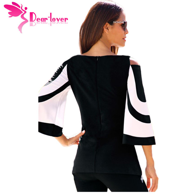 DearLover Women Blouse Black White Colorblock Bell Sleeve Cold Shoulder Top Mujer Camisa Feminina Office Ladies Clothes 1